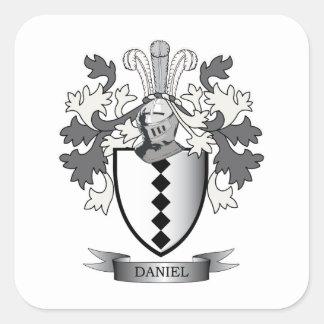 Daniel Family Crest Coat of Arms Square Sticker