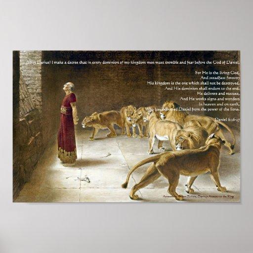 Daniel in the Lion's Den Bible Art Print