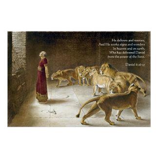Daniel in the Lion's Den Bible Art Scripture Perfect Poster