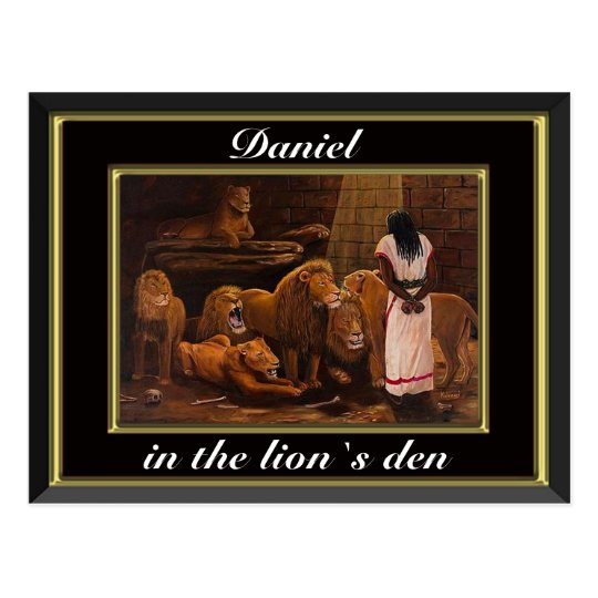 Daniel standing in the lions den black postcard