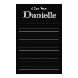 "Danielle ""Diamond Bling""  Black Stationery"