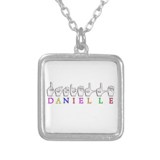 DANIELLE FINGERSPELLED ASL NAME SIGN SILVER PLATED NECKLACE