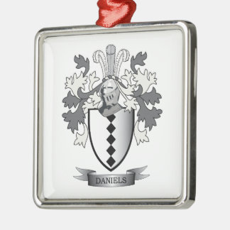 Daniels Family Crest Coat of Arms Silver-Colored Square Ornament
