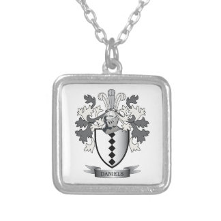 Daniels Family Crest Coat of Arms Silver Plated Necklace
