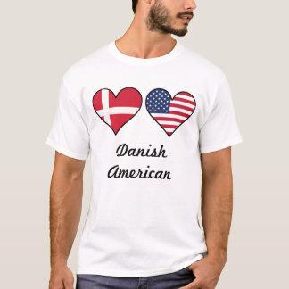 Danish American Flag Hearts T-Shirt