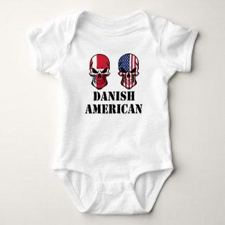 Danish American Flag Skulls Baby Bodysuit
