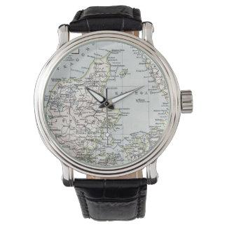 Danish Antique Map of Denmark, Danmark Wristwatch