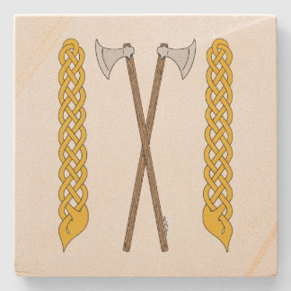 Danish Axes Crossed with Plaitwork Stone Coaster
