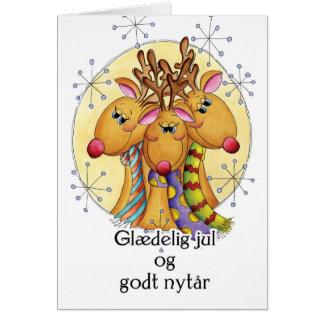 Danish Christmas Card - Reindeer - Glædelig jul