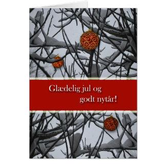Danish Christmas, Ornaments in Snow Card