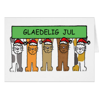Danish Christmas with cats Glaedelig Jul. Card