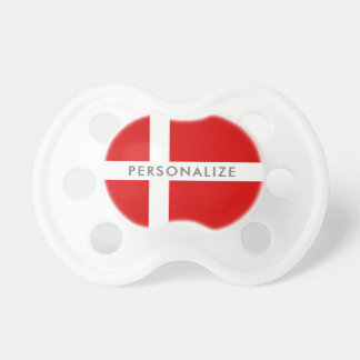 Danish flag baby pacifier for newborn boy or girl