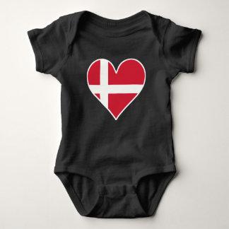 Danish Flag Heart Baby Bodysuit