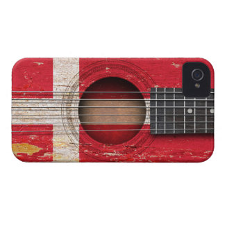 Danish Flag on Old Acoustic Guitar Case-Mate iPhone 4 Case