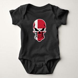 Danish Flag Skull Baby Bodysuit