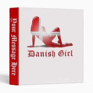 Danish Girl Silhouette Flag 3 Ring Binder