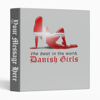 Danish Girl Silhouette Flag 3 Ring Binders