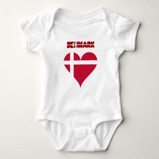 Danish heart flag baby bodysuit