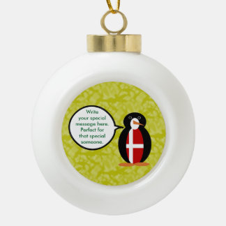 Danish Holiday Mr. Penguin Ceramic Ball Christmas Ornament