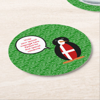 Danish Holiday Mr. Penguin Round Paper Coaster