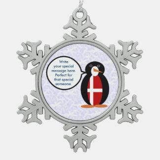 Danish Holiday Mr. Penguin Snowflake Pewter Christmas Ornament