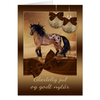 Danish Horse Christmas Holiday Greeting Card