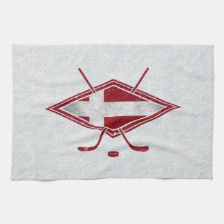Danish Ice Hockey Flag Logo Tea Towels