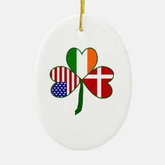 Danish Irish American Shamrock Ceramic Oval Ornament