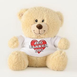 Danish Jeg Elsker Deg I Love You Red Heart Teddy Bear