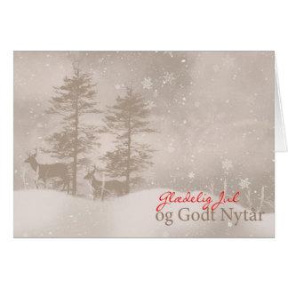 Danish Language Merry Christmas Stylish Christmas Card