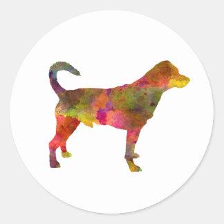 Danish swedish farmdog 01 in watercolor 2 classic round sticker