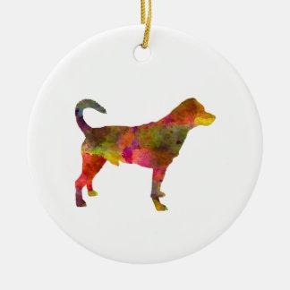 Danish swedish farmdog 01 in watercolor 2 round ceramic ornament