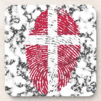 Danish touch fingerprint flag beverage coaster