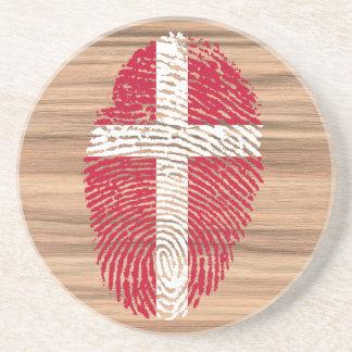 Danish touch fingerprint flag beverage coasters