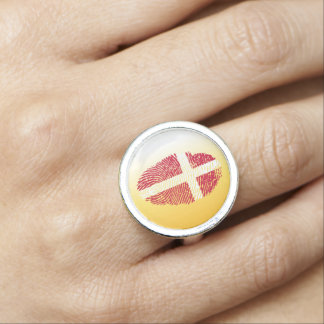 Danish touch fingerprint flag photo ring