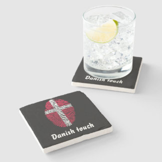 Danish touch fingerprint flag stone coaster