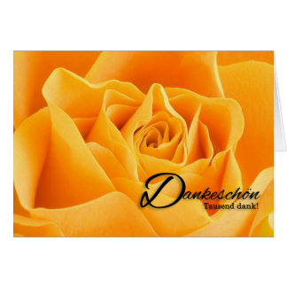 Danke Thank You German Language Yellow Rose Blank Card
