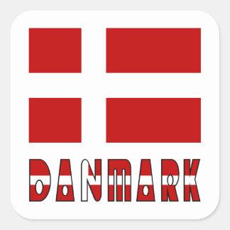 Danmark Flag & Word CC Square Sticker