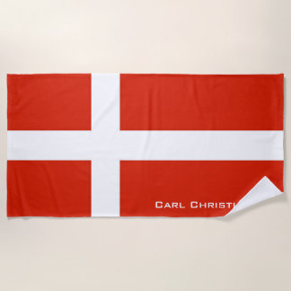 Dannebrog; The Official Flag of Denmark Beach Towel