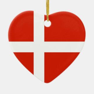Dannebrog; The Official Flag of Denmark Ceramic Heart Ornament