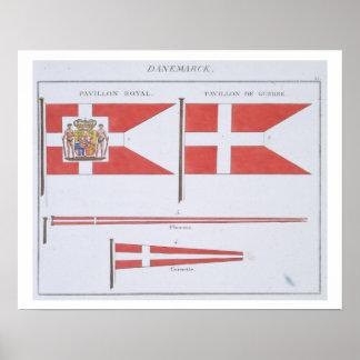 Danois diminue, d'un livre français des drapeaux,