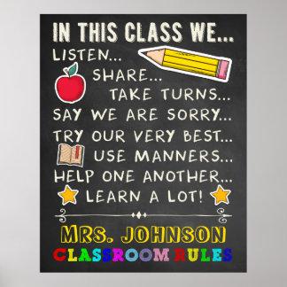 Dans des règles de cette salle de classe de classe