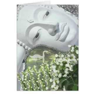 Dans le jardin - Quan Yin et fleurs Cartes De Vœux