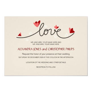 Dans le mariage élégant simple des textes d'amour carton d'invitation  12,7 cm x 17,78 cm