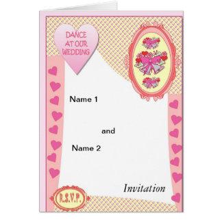 Danse à notre mariage, cloches roses carte de vœux