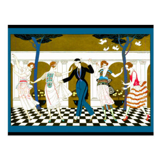 Danse d art déco cartes postales