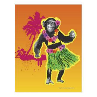 Danse de danse polynésienne de chimpanzé carte postale