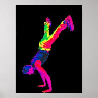 Danse de rue - multicolore, dos de noir poster