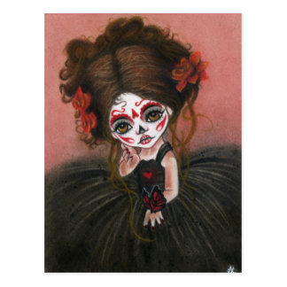 Danse Macabre big eye girl Postcard