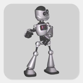 danse tramée de type de robot de la science sticker carré